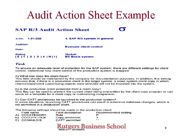 Audit Action Sheet Example 9