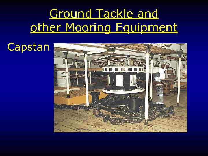 Ground Tackle and other Mooring Equipment Capstan