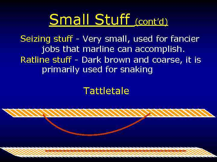 Small Stuff (cont'd) Seizing stuff - Very small, used for fancier jobs that marline