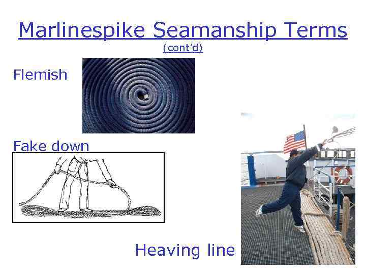 Marlinespike Seamanship Terms (cont'd) Flemish Fake down Heaving line