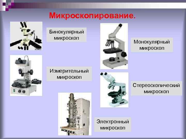 Микроскопирование. Бинокулярный микроскоп Монокулярный микроскоп Измерительный микроскоп Стереоскопический микроскоп Электронный микроскоп