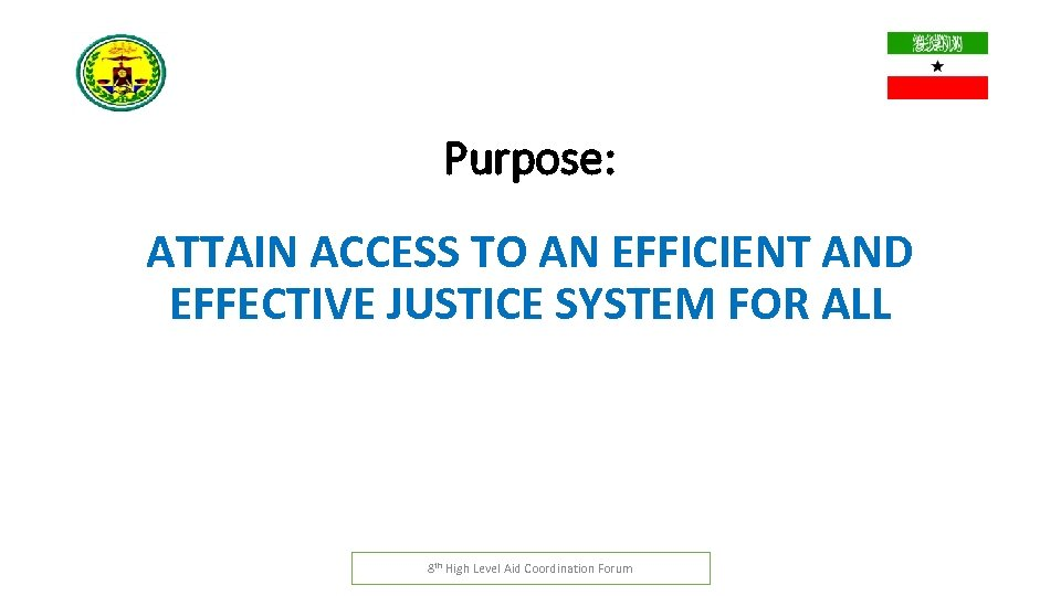 Purpose: ATTAIN ACCESS TO AN EFFICIENT AND EFFECTIVE JUSTICE SYSTEM FOR ALL 8 th