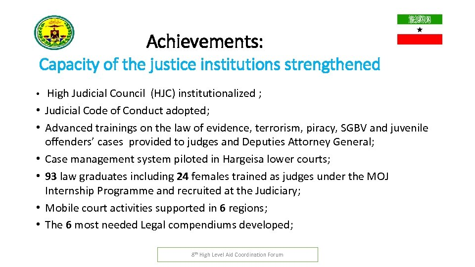 Achievements: Capacity of the justice institutions strengthened • • High Judicial Council (HJC) institutionalized