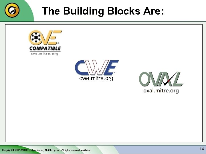 The Building Blocks Are: cwe. mitre. org Copyright © 2007, MITRE and portions by
