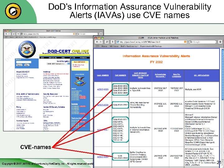 Do. D's Information Assurance Vulnerability Alerts (IAVAs) use CVE names CVE-names Copyright © 2007,