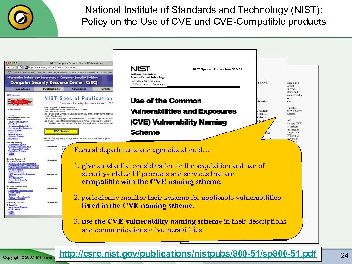 National Institute of Standards and Technology (NIST): Policy on the Use of CVE and