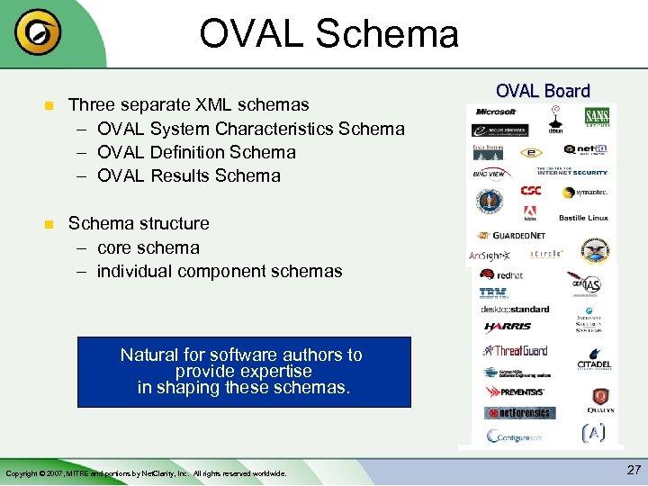 OVAL Schema n Three separate XML schemas – OVAL System Characteristics Schema – OVAL
