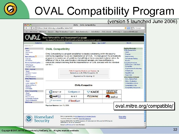 OVAL Compatibility Program (version 5 launched June 2006) oval. mitre. org/compatible/ Copyright © 2007,