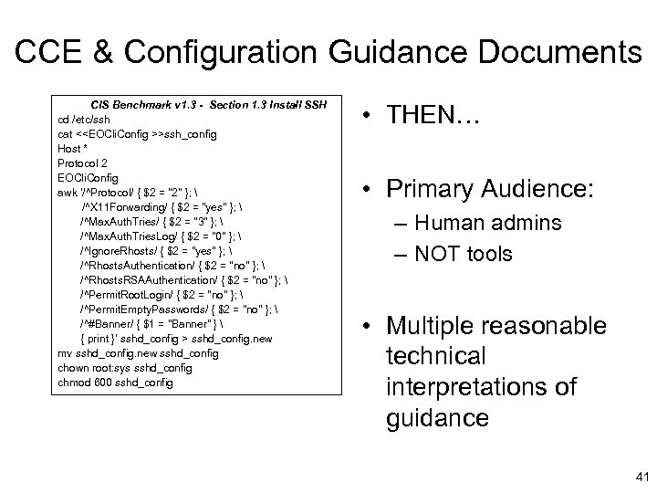 CCE & Configuration Guidance Documents CIS Benchmark v 1. 3 - Section 1. 3
