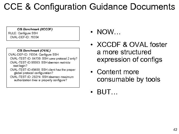 CCE & Configuration Guidance Documents CIS Benchmark (XCCDF) RULE: Configure SSH OVAL-DEF-ID: 78334 CIS