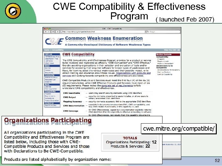 CWE Compatibility & Effectiveness Program ( launched Feb 2007) cwe. mitre. org/compatible/ 22 Copyright