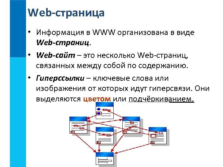 Web-страница • Информация в WWW организована в виде Web-страниц. • Web-сайт – это несколько