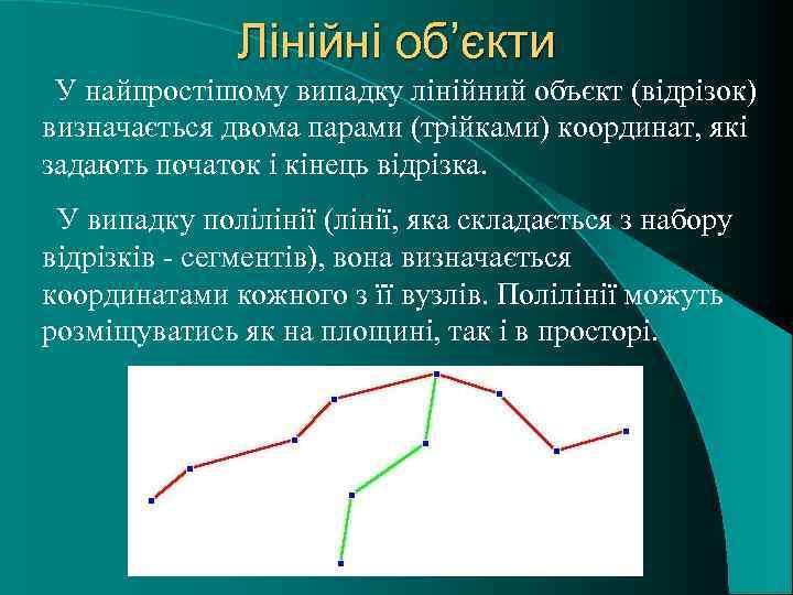 Лінійні об'єкти У найпростішому випадку лінійний объєкт (відрізок) визначається двома парами (трійками) координат, які
