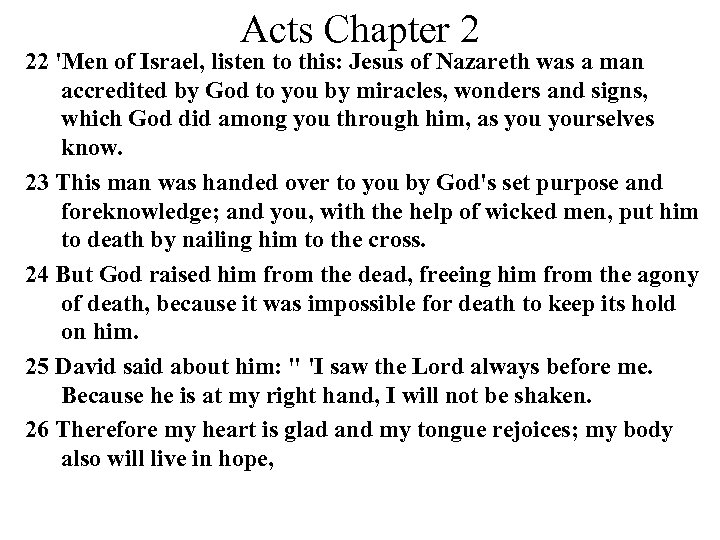 Acts Chapter 2 22 'Men of Israel, listen to this: Jesus of Nazareth was