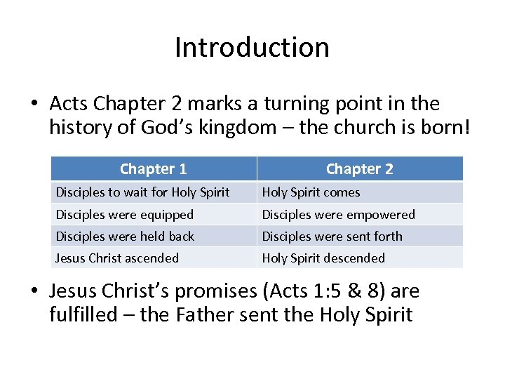 Introduction • Acts Chapter 2 marks a turning point in the history of God's
