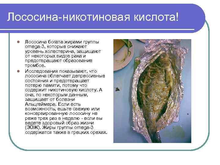 Лососина-никотиновая кислота! l l Лососина богата жирами группы omega-3, которые снижают уровень холестерина, защищают