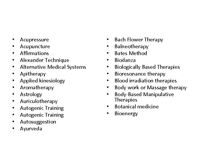 • • • • Acupressure Acupuncture Affirmations Alexander Technique Alternative Medical Systems Apitherapy
