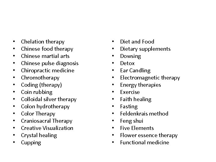 • • • • Chelation therapy Chinese food therapy Chinese martial arts Chinese