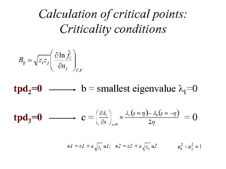 Calculation of critical points: Criticality conditions tpd 2=0 b = smallest eigenvalue λ 1=0