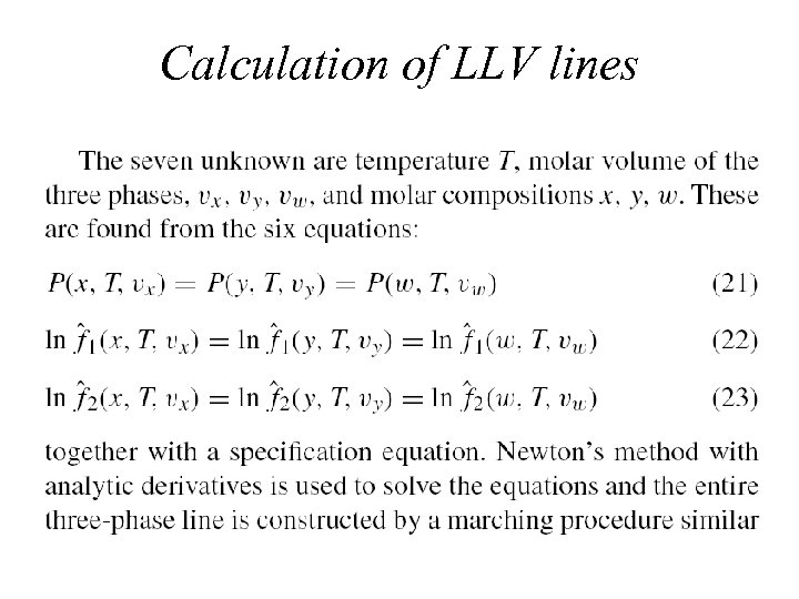 Calculation of LLV lines