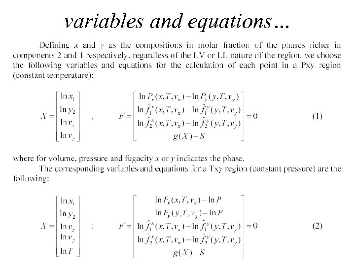 variables and equations…