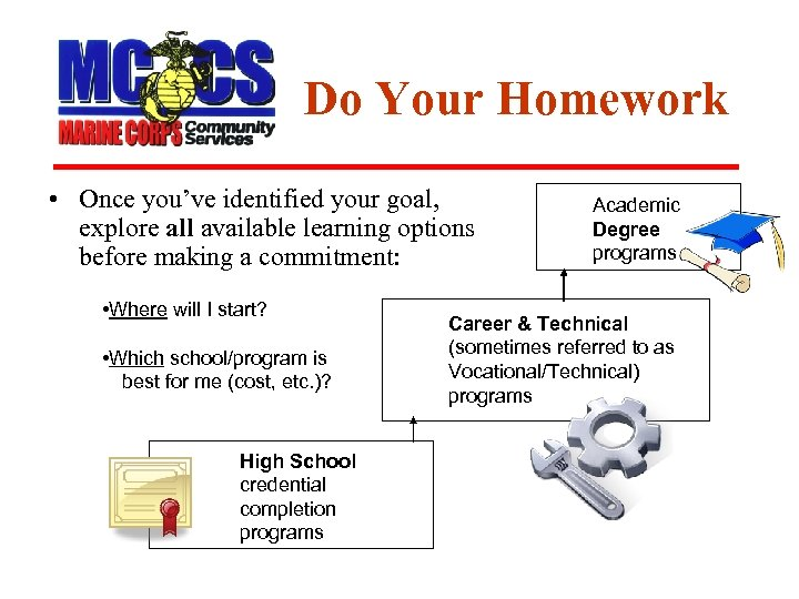 Do Your Homework • Once you've identified your goal, explore all available learning options