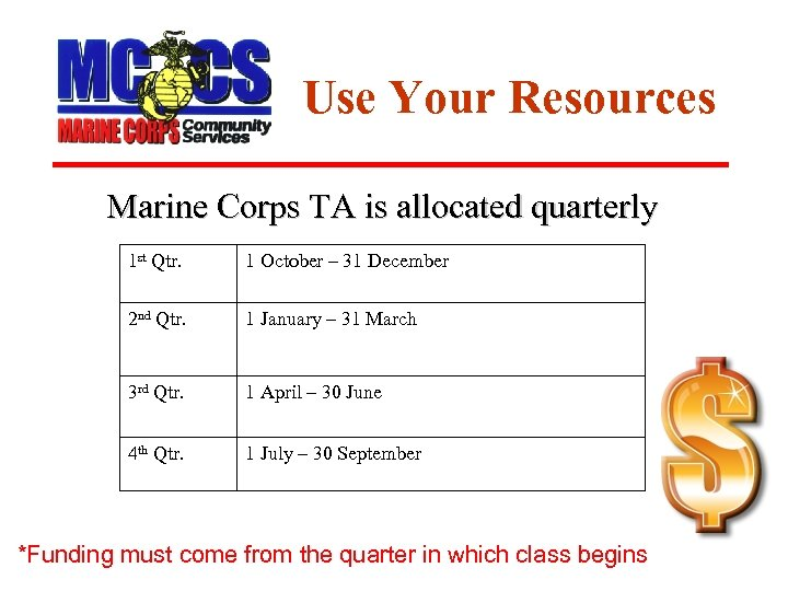 Use Your Resources Marine Corps TA is allocated quarterly 1 st Qtr. 1 October
