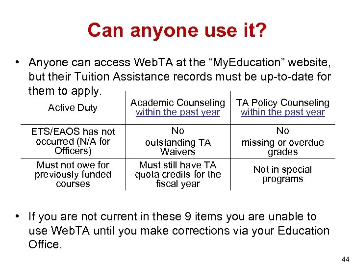 "Can anyone use it? • Anyone can access Web. TA at the ""My. Education"""