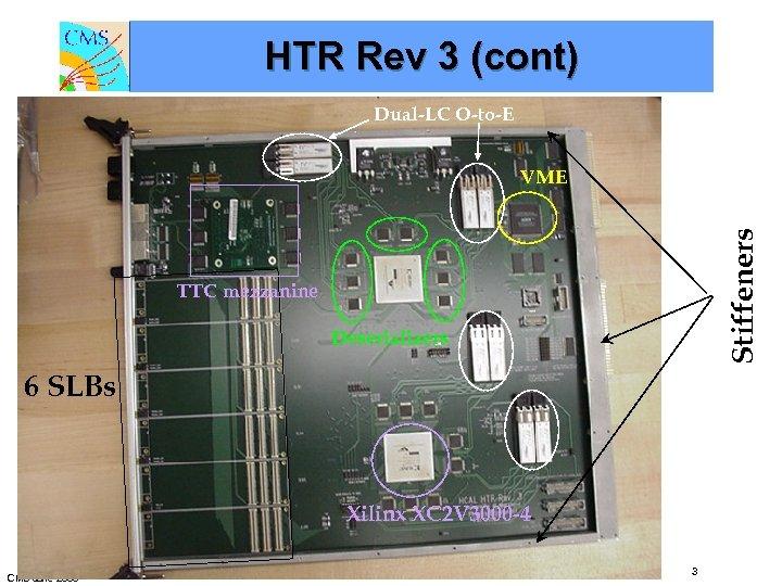 HTR Rev 3 (cont) Dual-LC O-to-E Stiffeners VME TTC mezzanine Deserializers 6 SLBs Xilinx