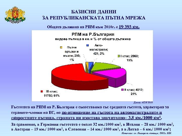 БАЗИСНИ ДАННИ ЗА РЕПУБЛИКАНСКАТА ПЪТНА МРЕЖА Общата дължина на РПМ към 2010 г. е