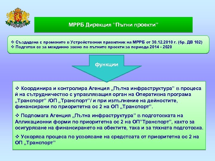 """МРРБ Дирекция """"Пътни проекти"""" v Създадена с промените в Устройствения правилник на МРРБ от"""