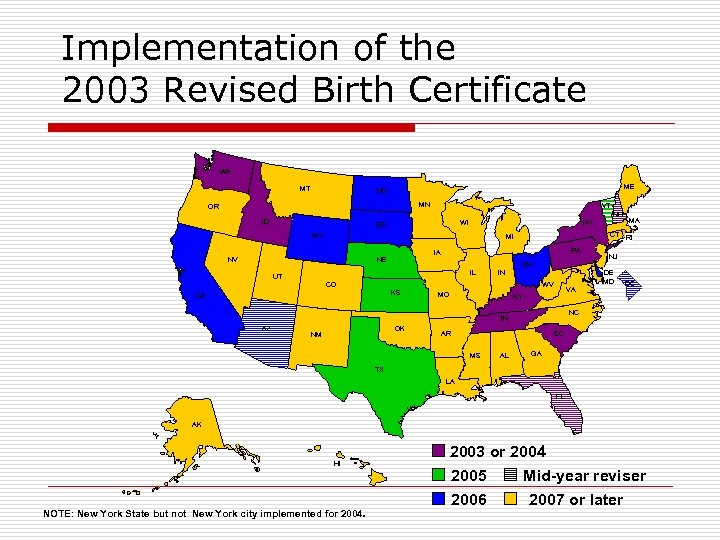 Implementation of the 2003 Revised Birth Certificate WA MT ME ND MN OR ID