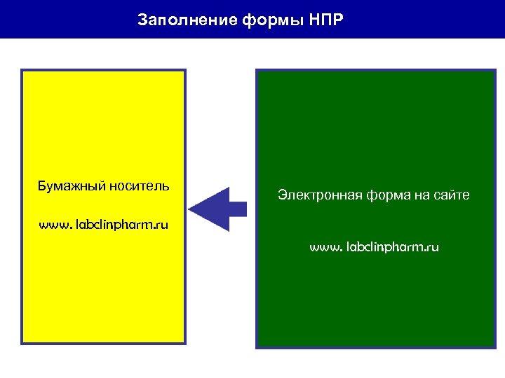 Заполнение формы НПР Бумажный носитель Электронная форма на сайте www. labclinpharm. ru