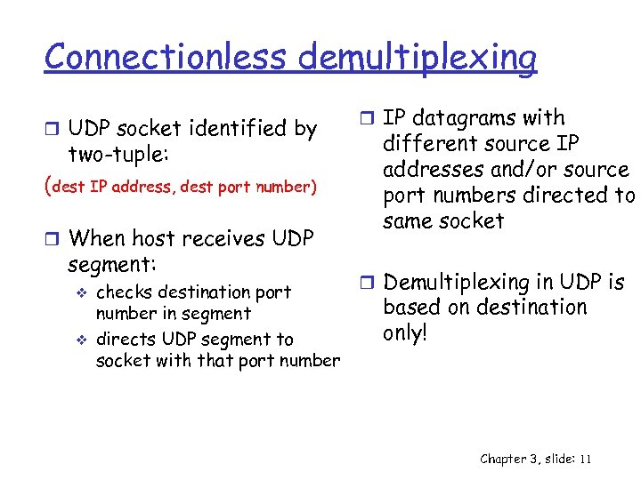 Connectionless demultiplexing r UDP socket identified by two-tuple: (dest IP address, dest port number)