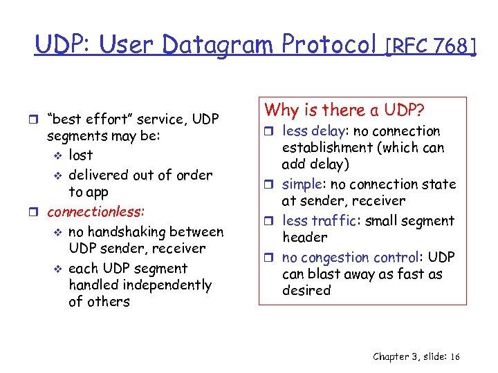"""UDP: User Datagram Protocol r """"best effort"""" service, UDP segments may be: v lost"""