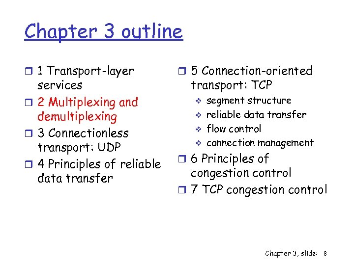 Chapter 3 outline r 1 Transport-layer services r 2 Multiplexing and demultiplexing r 3