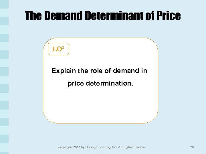 The Demand Determinant of Price LO 3 Explain the role of demand in price