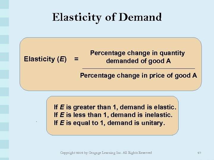 Elasticity of Demand Elasticity (E) = Percentage change in quantity demanded of good A