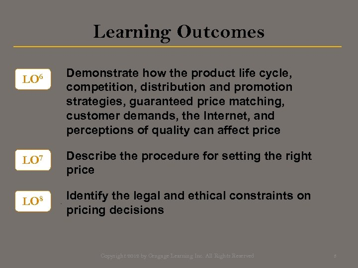 Learning Outcomes LO 6 Demonstrate how the product life cycle, competition, distribution and promotion
