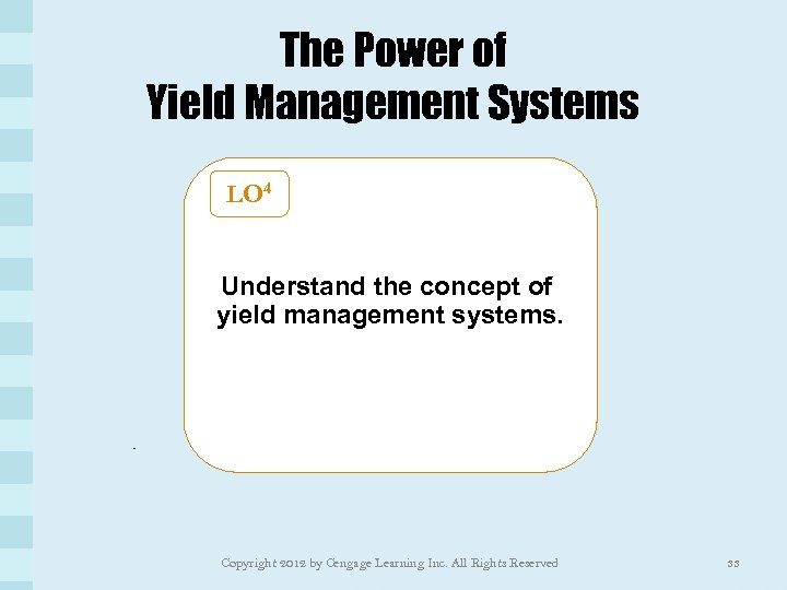 The Power of Yield Management Systems LO 4 Understand the concept of yield management