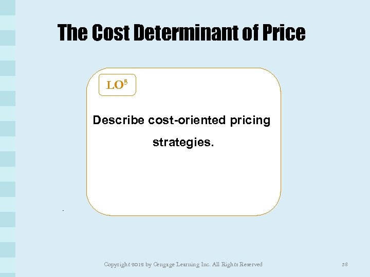 The Cost Determinant of Price LO 5 Describe cost-oriented pricing strategies. Copyright 2012 by