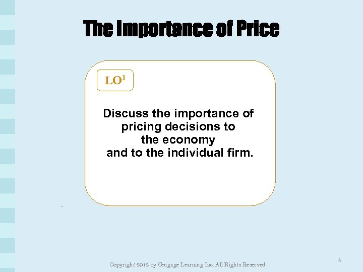 The Importance of Price LO 1 Discuss the importance of pricing decisions to the