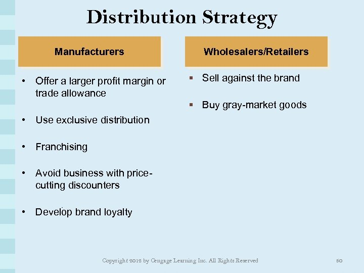 Distribution Strategy Manufacturers • Offer a larger profit margin or trade allowance Wholesalers/Retailers §