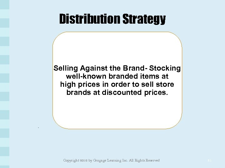 Distribution Strategy Selling Against the Brand- Stocking well-known branded items at high prices in