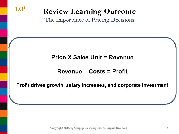 LO 1 Review Learning Outcome The Importance of Pricing Decisions Price X Sales Unit