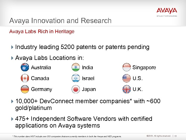 Avaya Innovation and Research Avaya Labs Rich in Heritage 4 Industry leading 5200 patents