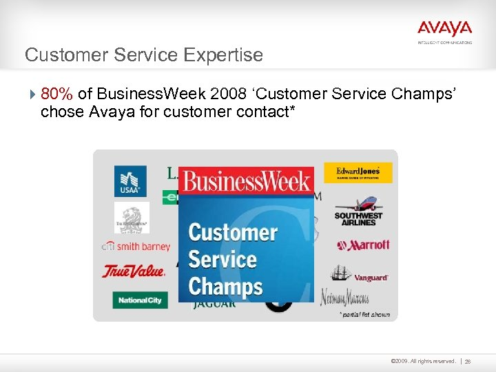 Customer Service Expertise 480% of Business. Week 2008 'Customer Service Champs' chose Avaya for