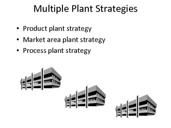 Multiple Plant Strategies • Product plant strategy • Market area plant strategy • Process