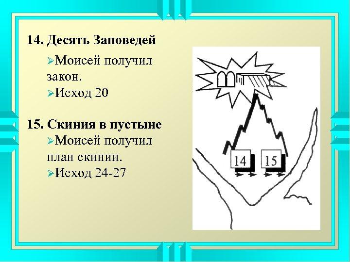 14. Десять Заповедей ØМоисей получил закон. ØИсход 20 15. Скиния в пустыне ØМоисей получил