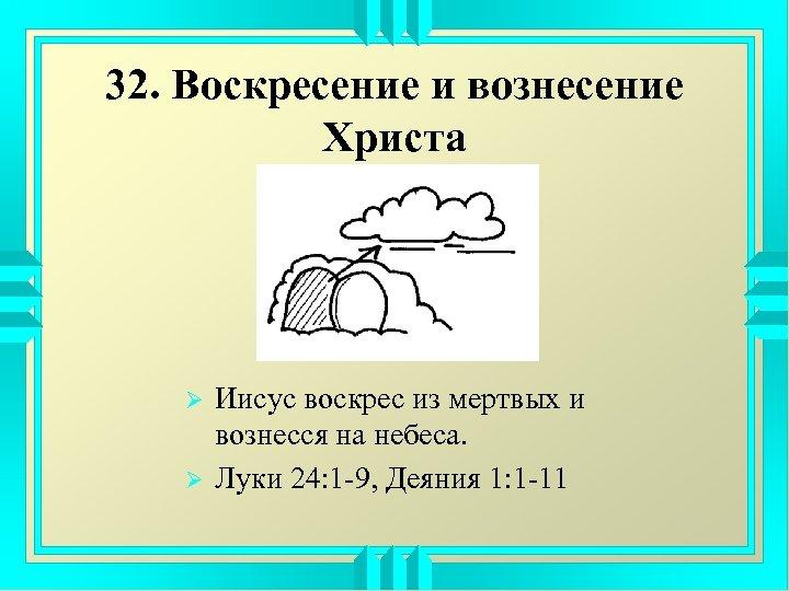 32. Воскресение и вознесение Христа Ø Ø Иисус воскрес из мертвых и вознесся на